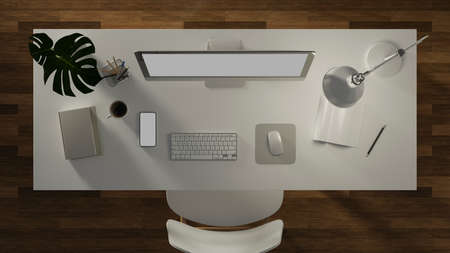 3D rendering, office desk with computer, smartphone, stationery, lamp, accessories and plant pot in home office room, 3D illustration