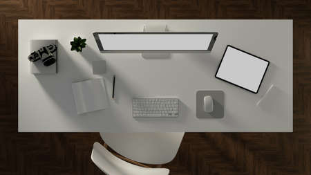 3D illustration, office desk with computer, tablet, accessory and stationery on the table, clipping path, 3D rendering