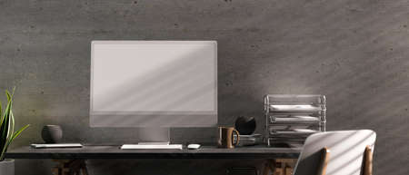 3D rendering, computer desk with office supplies, chair and decorations in modern loft office room, 3D illustration
