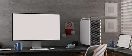 3D rendering, modern loft office room with computer devices, laptop, supplies, chair and decorations, 3D illustration
