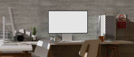 3D rendering, office desk with computer, supplies, chair and decorations in loft office room, 3D illustration 版權商用圖片