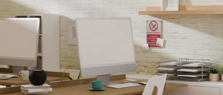 3D rendering, co-working space with two computer devices, laptop and office supplies, in the room, 3D illustration