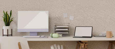 Comfortable home office with computer, laptop, supplies and plant pot on white desk, 3D rendering, 3D illustration