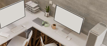 Top view of comfortable workplace with two computer, office supplies and decorations on white desk, 3D rendering
