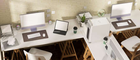 3D rendering, office room interior design with office desk, computer devices and office supplies, 3D illustration, top view 版權商用圖片