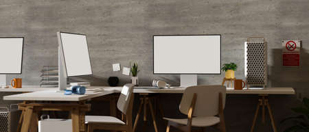 3D rendering, loft office interior design with two computer devices, supplies, chairs and decorations with no smoking sign on the wall, 3D illustration 版權商用圖片