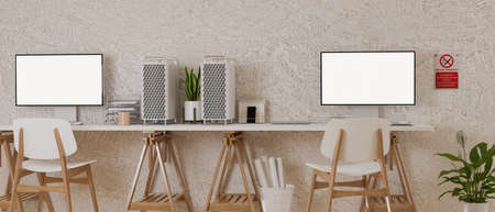 Minimal office desk with two computer devices,  supplies, decorations and no smoking sign on the wall, 3D rendering, 3D illustration