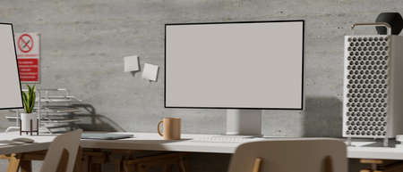Close up view of office desk with computer device and office supplies on the table in simple workplace, 3D rendering, 3D illustration