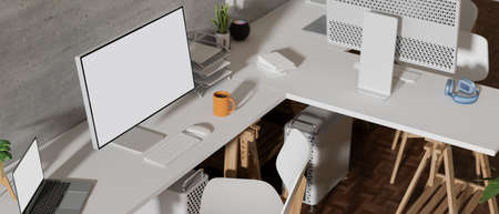 Top view of comfortable office desk with computer, laptop and office supplies on white table, 3D rendering, 3D illustration 版權商用圖片