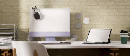 3D rendering, office desk with computer, laptop and supplies on the table with chair in home office room, 3D illustration