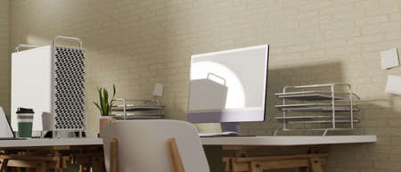 Simple workspace with computer device, office supplies and decorations on the table, 3D rendering, 3D illustration