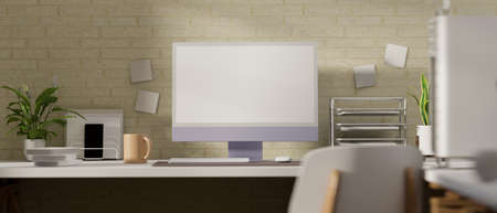 3D rendering, office desk with computer monitor, office supplies and decorations on the desk, 3D illustration