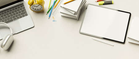 Top view, 3D rendering, minimal workspace with laptop, tablet, stationery, accessories and copy space on white background, 3D illustration