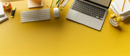 Top view, 3D rendering, stylish workspace with laptop, stationery, supplies and copy space on yellow background, 3D illustration