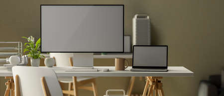 3D rendering, minimal office room with computer monitor, laptop, supplies and decorations on the desk, 3D illustration