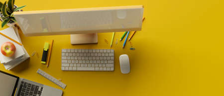 Top view, 3D rendering, Creative workspace with computer, stationery, laptop and copy space on yellow background, 3D illustration