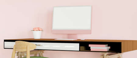 Feminine office desk with computer, flower vase and supplies in pink wall room, 3D rendering, 3D illustration