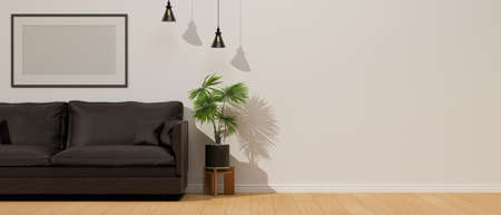 Living room interior design with sofa, plant pot, lamp and mock-up frame decorated in the room, 3D rendering, 3D illustration 版權商用圖片