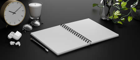 Blank notebook opened on black table with earphone, eyeglasses and decorations, 3D rendering, 3D illustration