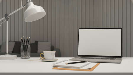 Simple workspace in living room with laptop, stationery, lamp and coffee cup, 3D rendering, 3D illustration 版權商用圖片