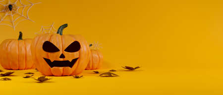 Halloween decoration, pumpkin lamps decorated on yellow background, 3D rendering, 3D illustration 版權商用圖片