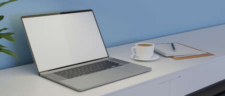 Laptop with mock-up screen on white table with coffee up and stationery, 3D rendering, 3D illustration