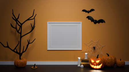 Halloween decoration concept with mock-up frame, pumpkin lamp and  dried tree decorated in the room, 3D rendering, 3D illustration