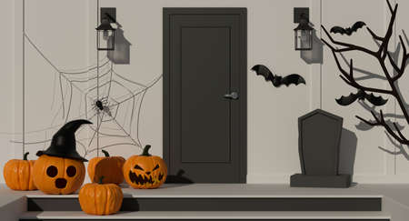 Halloween home decorations with pumpkin lamps and scary items decorated front of the door, 3D rendering, 3D illustration 版權商用圖片
