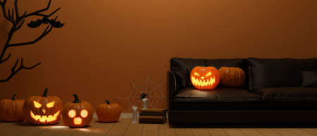 Living room decorated with pumpkin lamps and halloween concept decorations, 3D rendering, 3D illustration