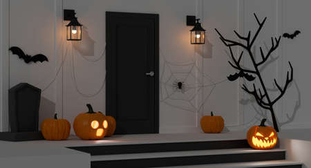 Halloween home decorations with pumpkin lamps and scary items decorated front of the door at night, 3D rendering, 3D illustration 版權商用圖片