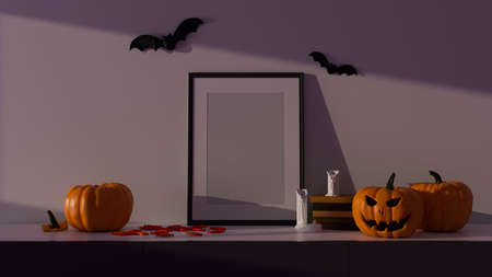 Halloween party decorations with mock-up frame and pumpkin lamps in living room, 3D rendering, 3D illustration 版權商用圖片