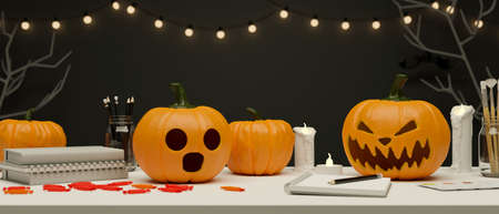Halloween party concept workspace decorated with pumpkin lamps, candle and light, 3D rendering, 3D illustration