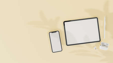 Top view of digital tablet, smartphone with mock-up screen and accessories isolated on yellow pastel background, 3D rendering, 3D illustration