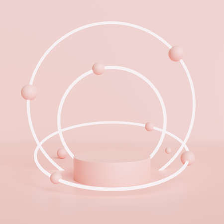 Pink mock up scene with podium geometry shape for product display, 3D rendering, 3D illustration