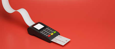 Payment terminal with credit card and receipt isolated on red background, 3D rendering, 3D illustration 版權商用圖片