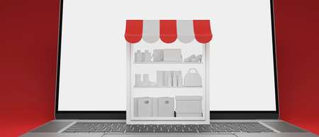 Online shopping concept, stock shelves on laptop with mock-up screen on red background, 3D rendering, 3D illustration 版權商用圖片
