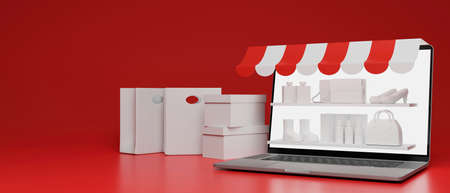 Online shopping concept, stock shelves on laptop screen and sopping bags composing on red background, 3D rendering, 3D illustration 版權商用圖片