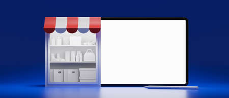 Online shopping concept, stock shelves and tablet with mock-up screen on blue background, 3D rendering, 3D illustration