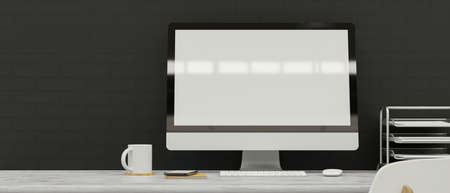 Computer monitor with mock-up screen on the desk with supplies and grey wall background, 3D rendering, 3D illustration