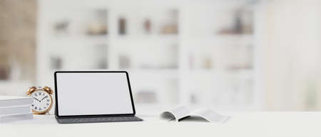 Digital tablet with mock-up screen and keyboard on the table with books and blurred background, 3D rendering, 3D illustration