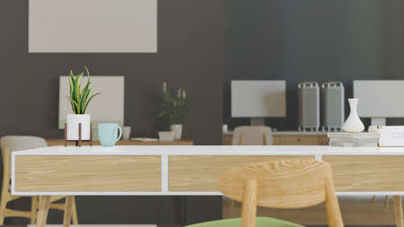 Working table with copy space in comfortable office room, 3D rendering, 3D illustration