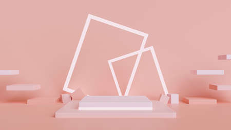 Pink pastel creative mock-up scene with stage showcase, abstract background, 3D rendering, 3D illustration