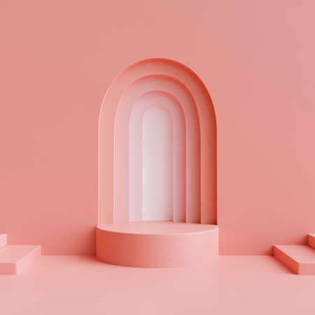 Creative mock up scene with podium geometry shape for product display and pink background, 3D rendering, 3D illustration
