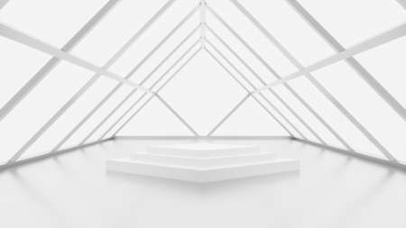 White Modern futuristic mock up scene with triangle showcase, abstract sci-fi interior design, 3D rendering, 3D illustration