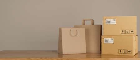 Shopping bags and cardboard boxes stacked on the wooden table , 3D rendering, 3D illustration