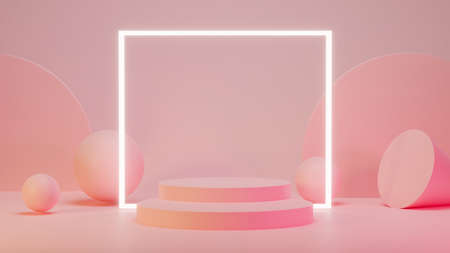 Pink mock up scene with podium geometry shape for product display, Abstract background, 3D rendering, 3D illustration