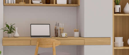 Cozy home office room with laptop, paint tools on the desk, bookshelf and decorations in the room, 3D render, 3D illustration