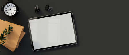Top view of digital tablet with mock-up screen on dark table with supplies and copy space, 3D rendering, 3D illustration