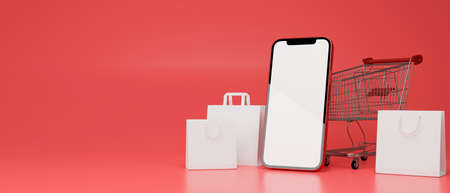 Smartphone with mock-up screen, shopping bags and cart composing on red background, 3D rendering, 3D illustration