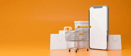 Smartphone with mock-up screen composing on yellow background with cart and shopping bags, 3D render, 3D illustration